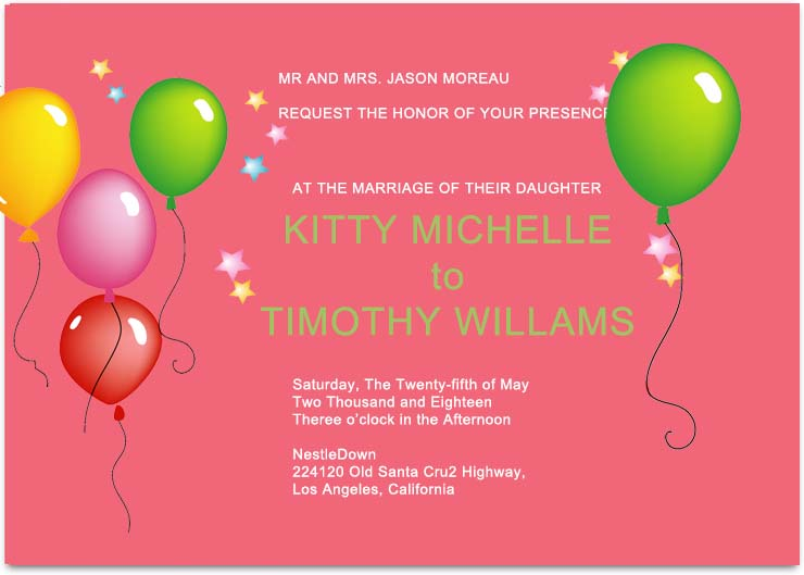 Flying Balloons and Stars Celebrity Wedding Invitations HPI285