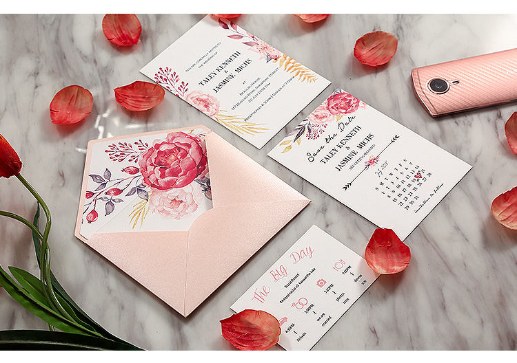 Pink Flower and Cherry Pocket Fold Wedding Invitations HPI295