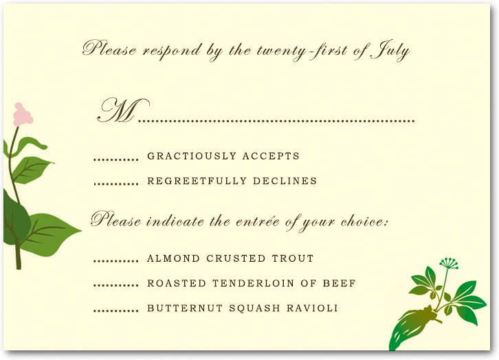 Green Plants Beautiful Peace Respond Cards HPR020