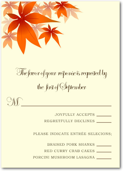 Red Maple Leaves Wedding RSVP Cards HPR040