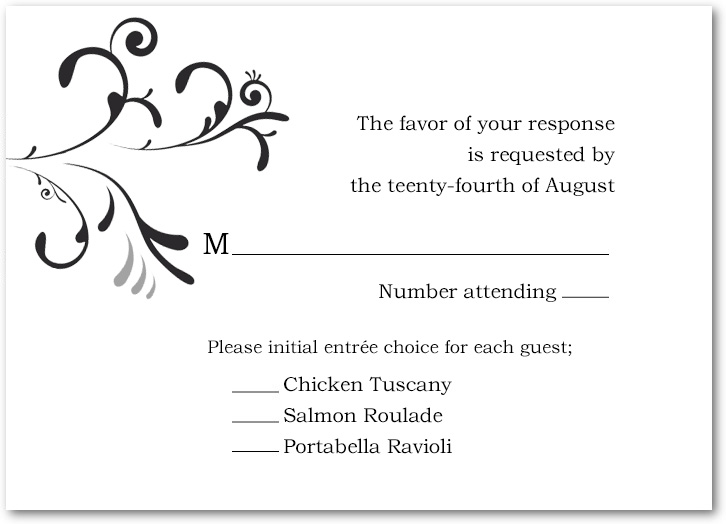 Flourish And Neutral Scroll Wedding RSVP Cards HPR042