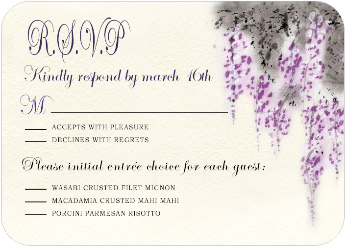 Fragrant Purplish Flowers Wedding RSVP Cards HPR043