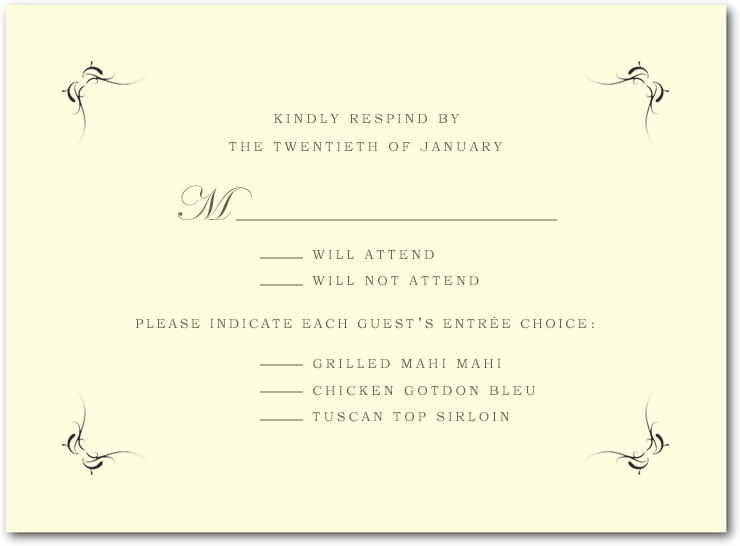 Windswept Simple symmetrical Wedding RSVP Cards HPR048