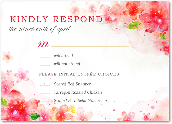 Lively Watercolour Floral Wedding RSVP Cards HPR050