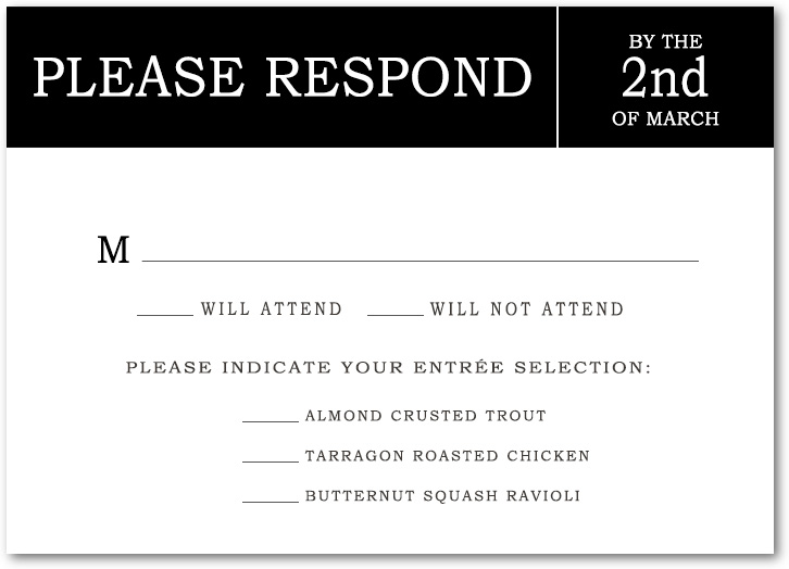 Gorgeous Black Text Act RSVP Cards HPR056