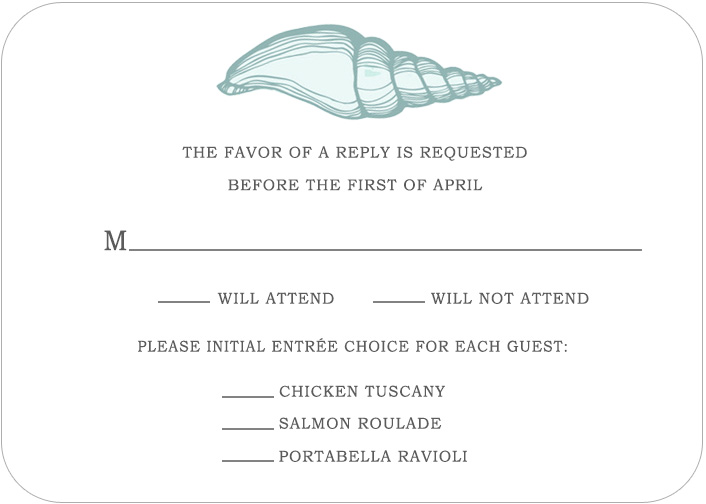 Shell Conch Light Blue RSVP Cards HPR057