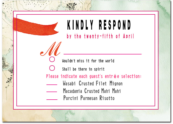 Map And Ribbon Respond Cards HPR059