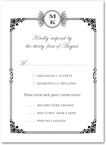 Sophisticated Art Deco Response Card HPR089