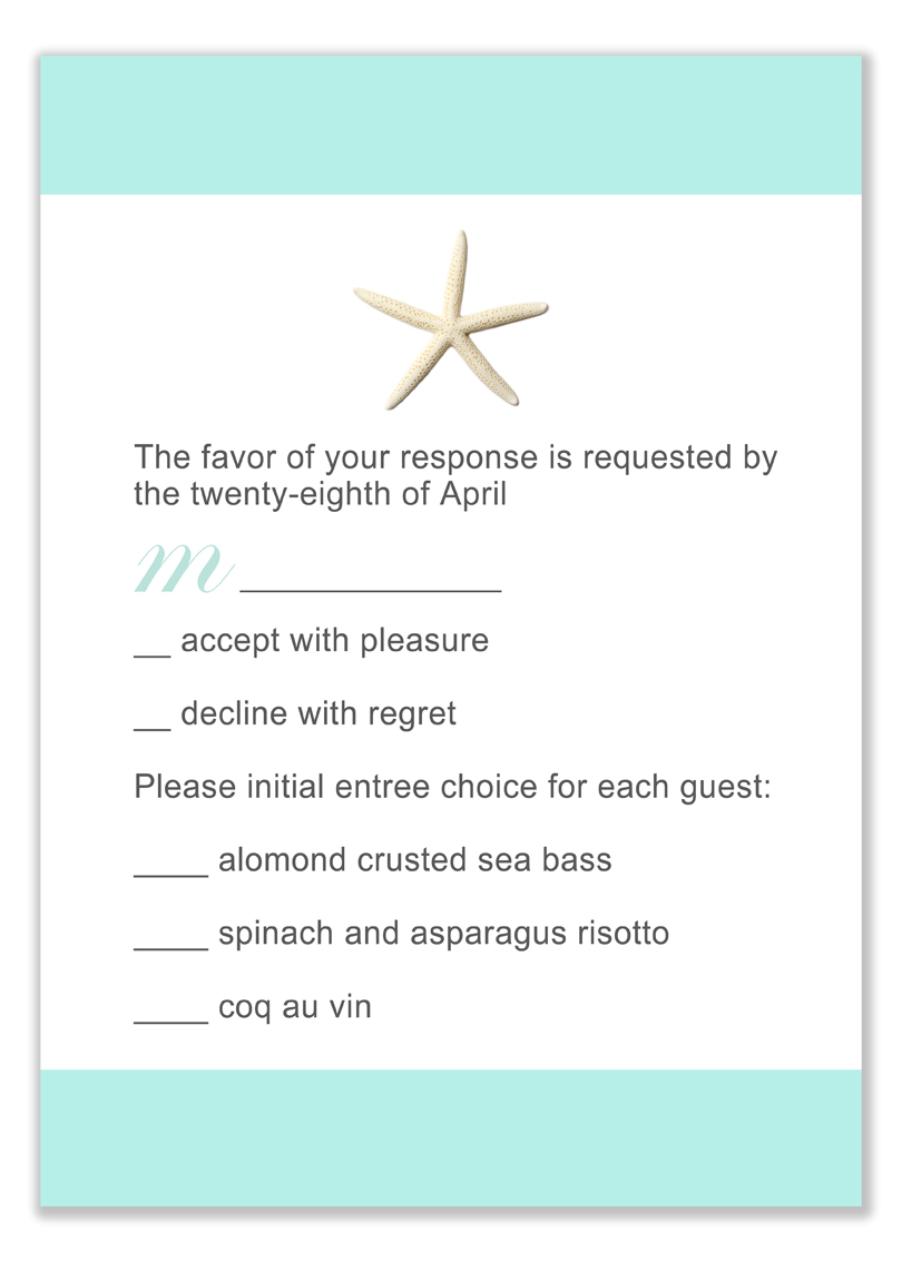 Starfish Beach Teal Respond Cards HPR275