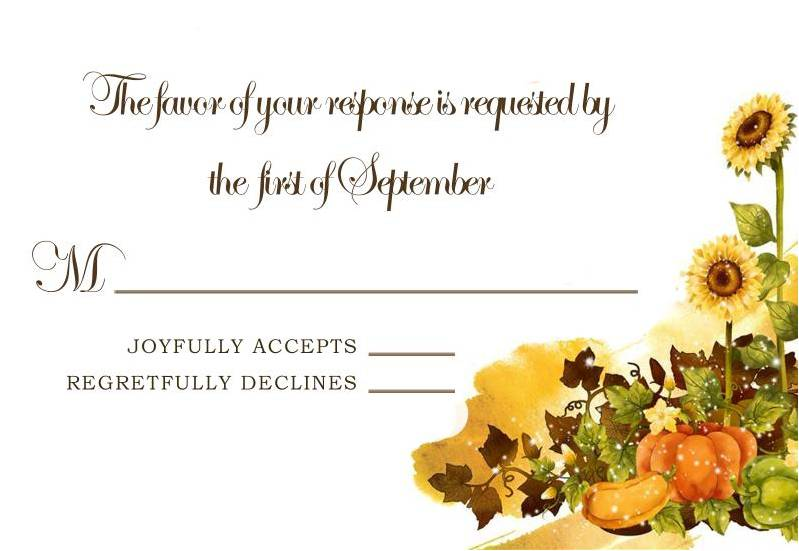 Sunflower and Pumpkin Falll Wedding RSVP Card HPR276