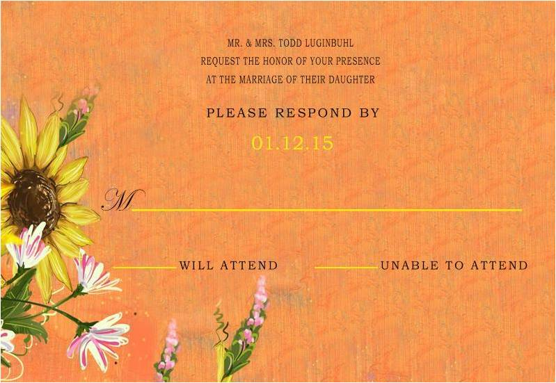 Orange Sunflowers Falll Wedding RSVP Card HPR277