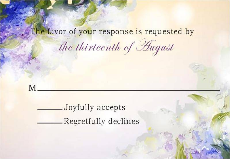 Romantic Watercolor Lavender Falll Wedding Response Card HPR278