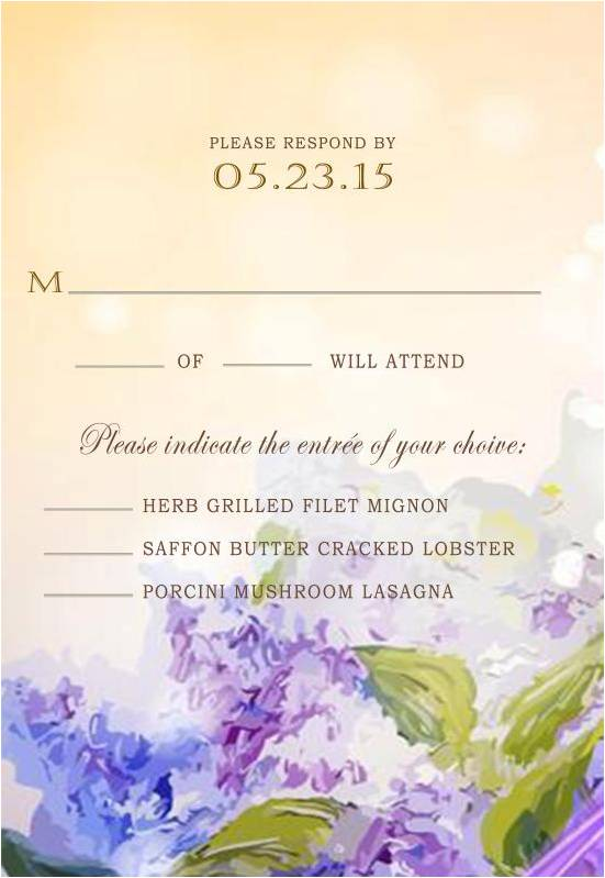 Gradient Watercolor Lavender Fall Wedding Response Cards HPR279
