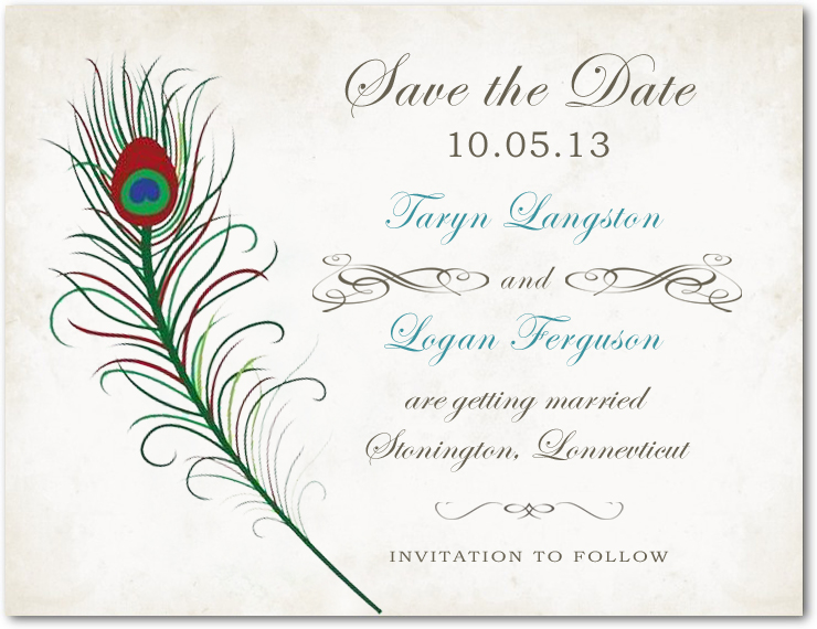 Feather Retro Handwriting Script Save The Date Card HPS015