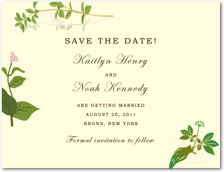 Green Plants Beautiful Peace Save The Date Card HPS020