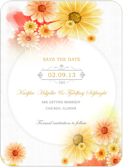 Summer Sunflower Bright Wedding Save A Date Cards HPS039