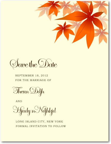 Red Maple Leaves Wedding Save A Date Cards HPS040