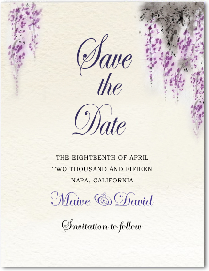 Fragrant Purplish Flowers Wedding Save The Dates HPS043