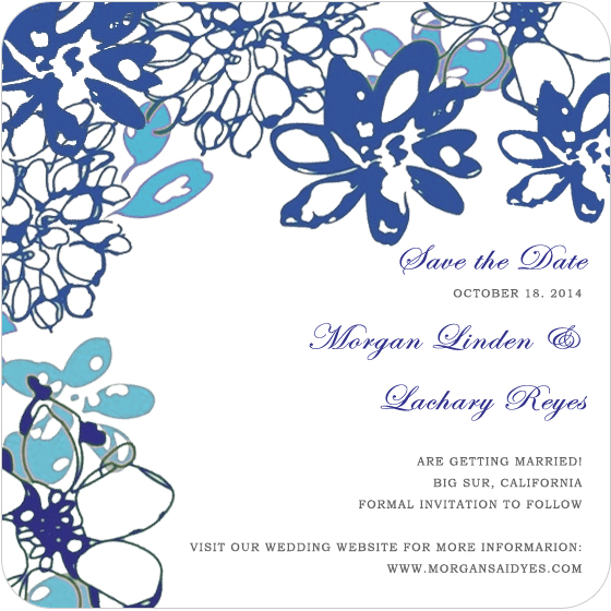 Large Blue Petals Watercolor Save The Dates CardS HPS052