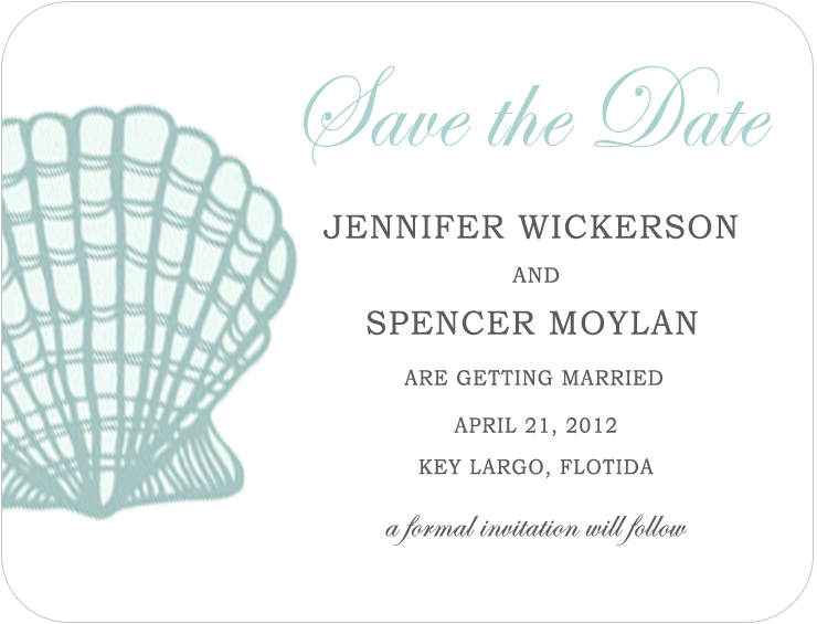 Shell Conch Light Blue Save The Dates CardS HPS057