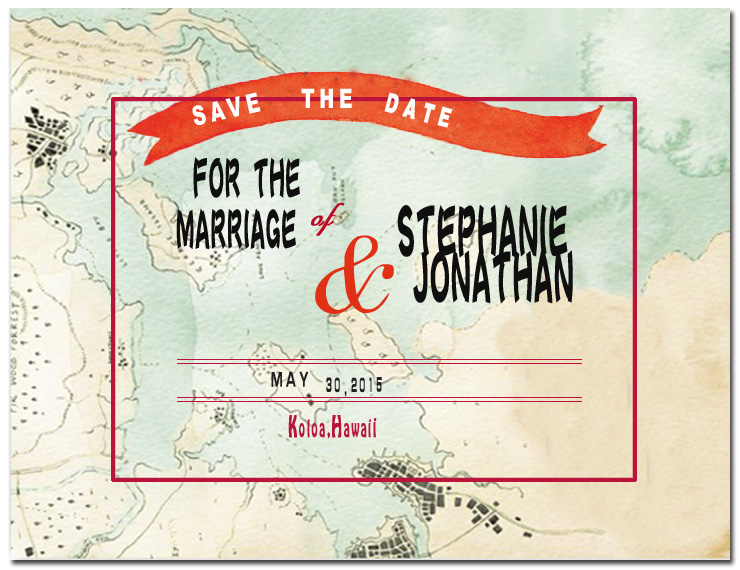 Map And Ribbon Save The Date CardS HPS059