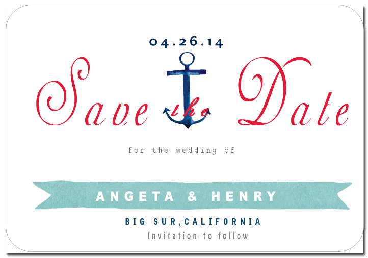 Anchor And Ribbon Bold Save The Date CardS HPS060