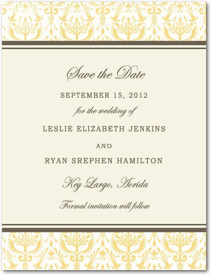 Formal Beautiful pattern Save The Date Card HPS087