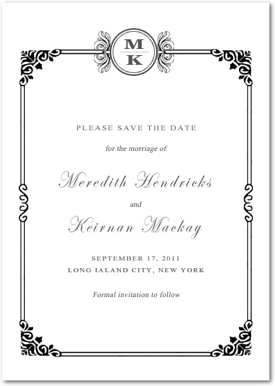 Sophisticated Art Deco Save The Date Card HPS089