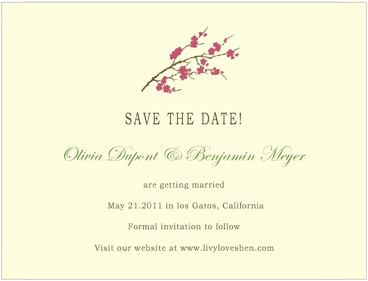 Watercolor Cherry Flowers Save The Date Cards HPS186
