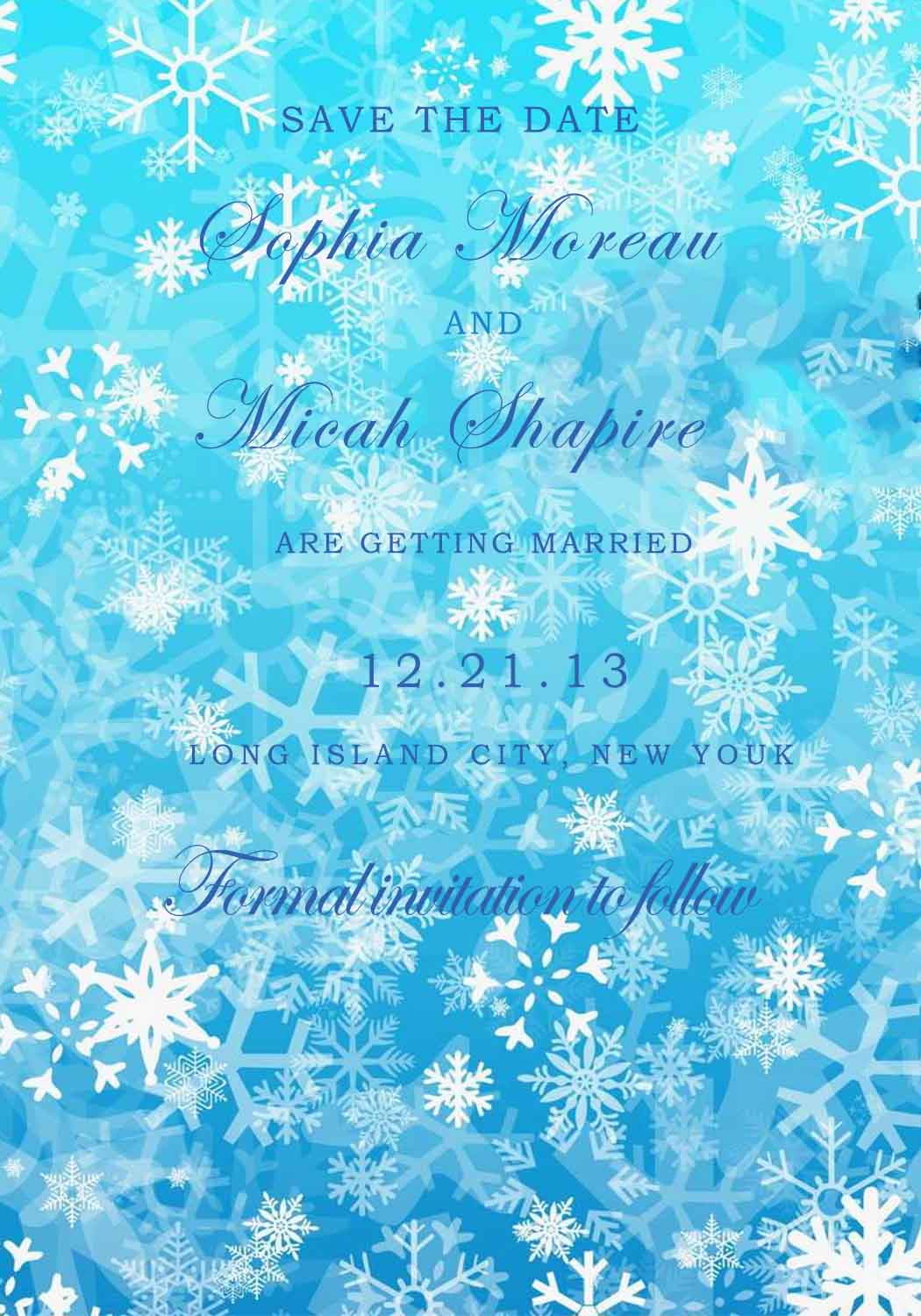 Icy Blue Snowflakes Save The Date Card HPS284