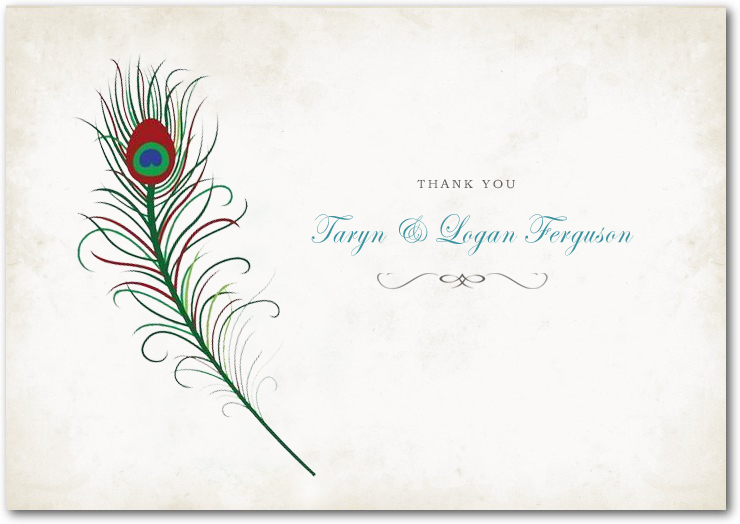 Feather Retro Handwriting Script Thank You Card HPT015