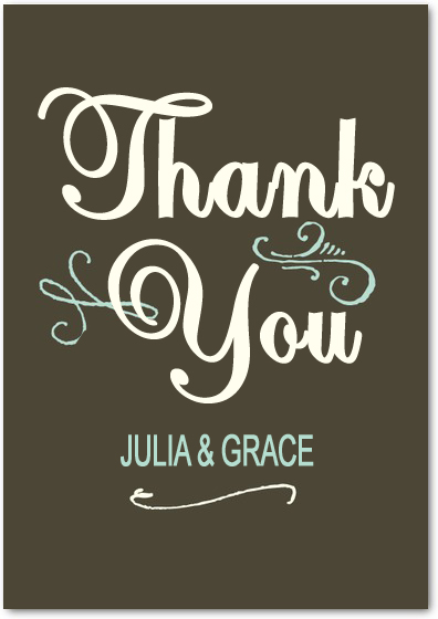 Dark Gray WordArt Thank You Card HPT017