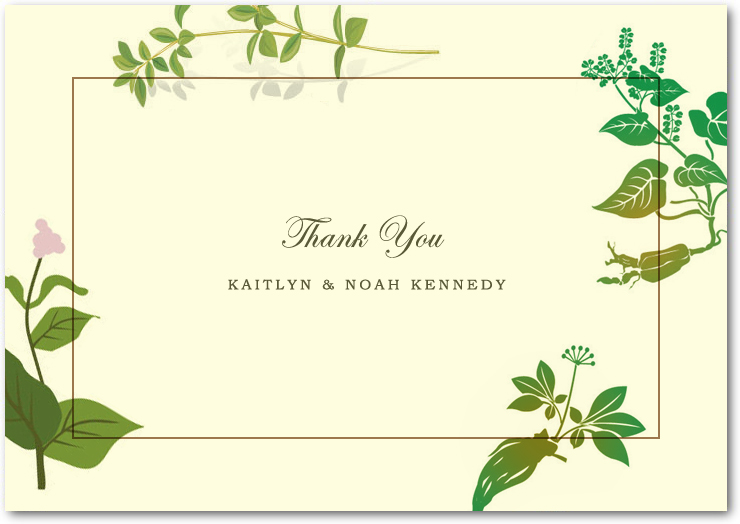 Green Plants Beautiful Peace Thank You Card HPT020
