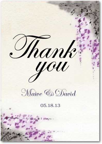 Fragrant Purplish Flowers Wedding Thanks Cards HPT043
