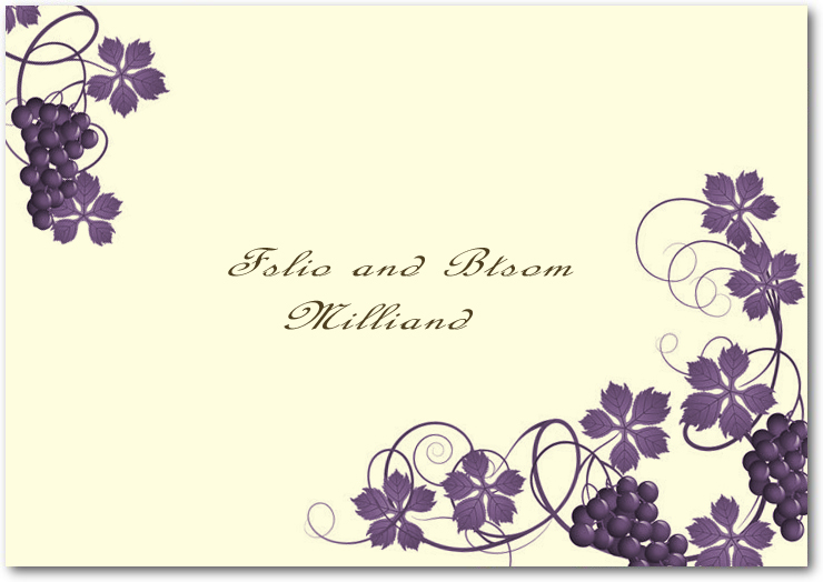 Purple Twirling Vineyard Wedding Thanks Cards HPT044