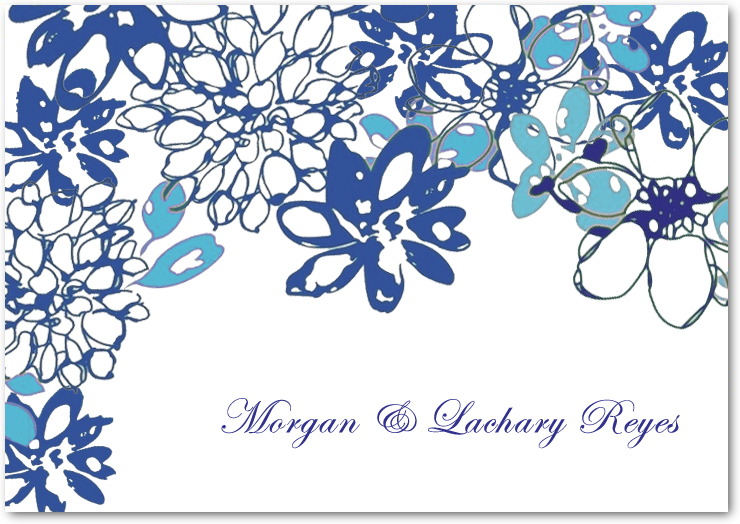 Large Blue Petals Watercolor Thank You Cards HPT052