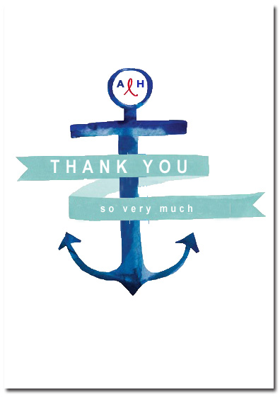 Anchor And Ribbon Bold Thanks Cards HPT060