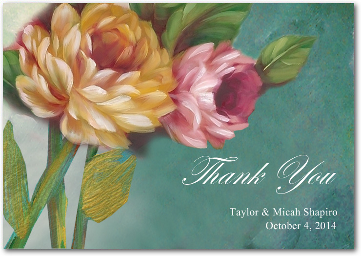 Beautiful Oil Painting Style Flower Thank You Cards HPT081