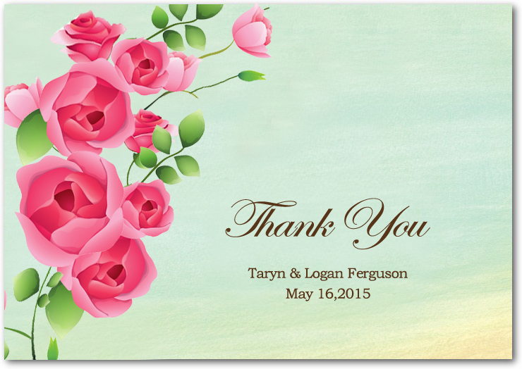Colorful Sweet Rose Blooms Thank You Cards HPT082