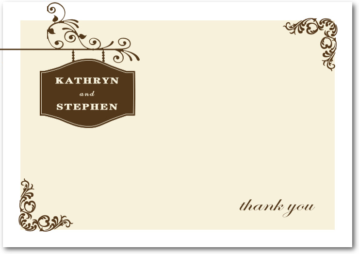 Charming And Simple Outside Thank You Cards HPT086