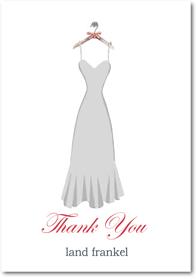 Gray Wedding Dress Silhouette Thank You Card HPT099