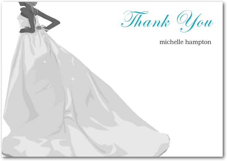 Bridal's Silhouette In Wedding Gowns Thanks Card HPT100