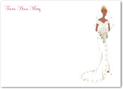 Elegance And Charming Bride Portrait Thank You Card HPT105