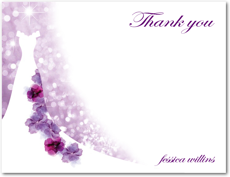 Purple Floral Wedding Dress Thank You Cards HPT116