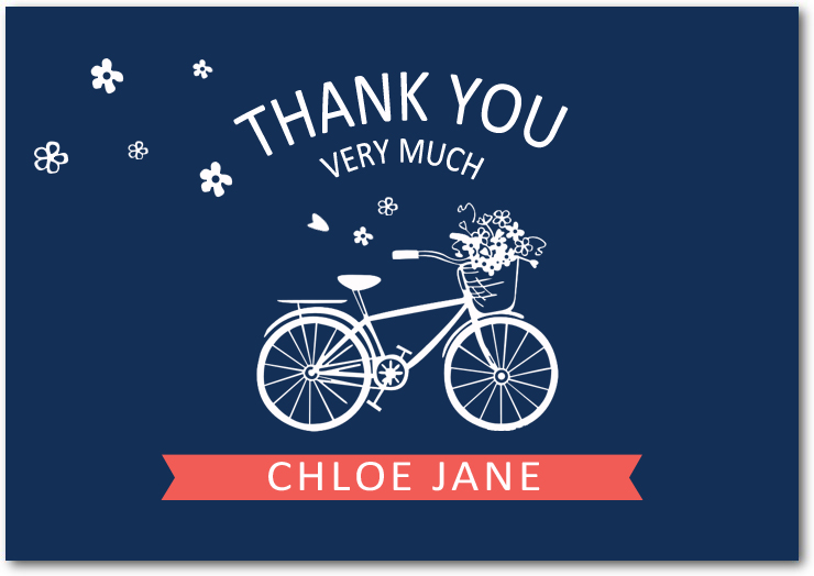 Blue Wedding Bicycle Thank You Cards HPT130