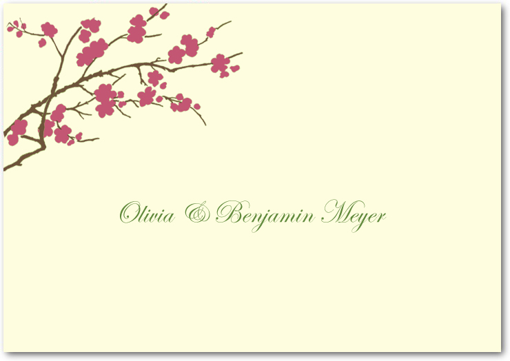 Watercolor Cherry Flowes Thank You Card HPT186