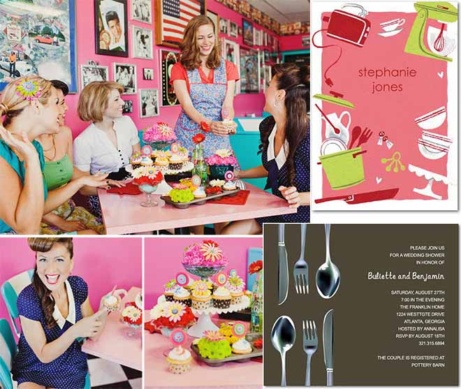 themed bridal shower party and invitations