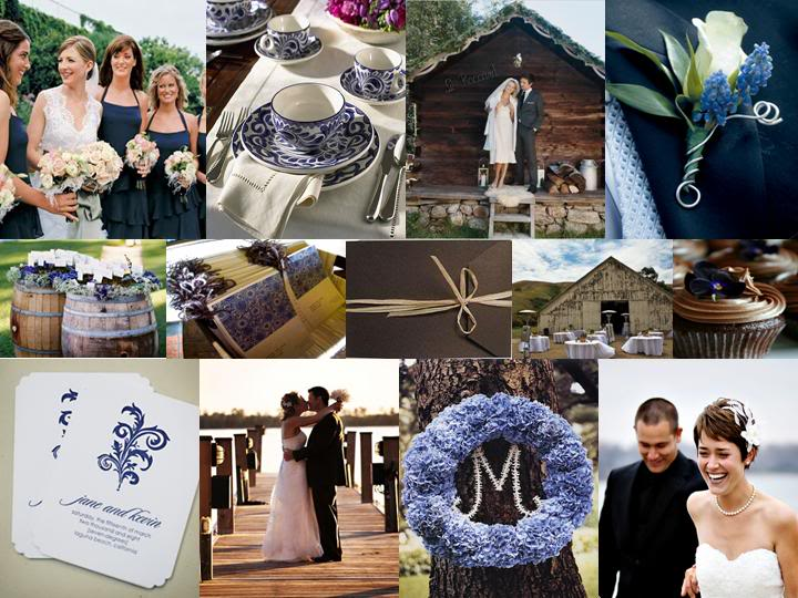 Blue And Chocolate Brown Color Wedding