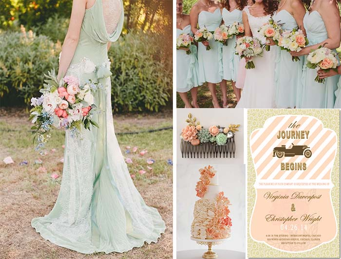 Peach Mint And Gold Wedding